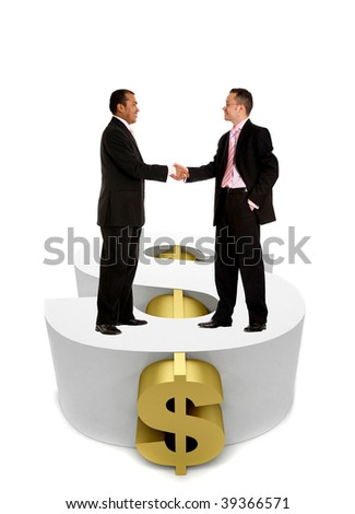business men handshaking over a dollar symbol