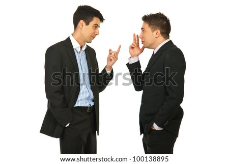 Business men having skirmish and gesticulate together isolated on white background - stock photo