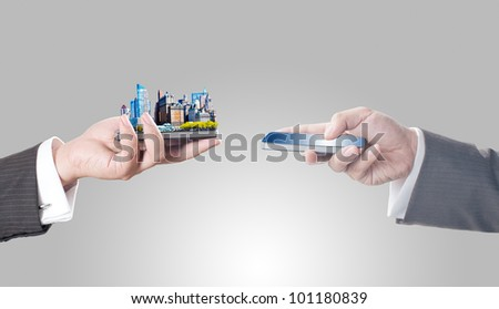 Business men holding smart phone with city on screen for business trading concept - stock photo