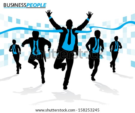 Business Men in Career Race. Great illustration of a group of Business Men running in the race that could just define their careers. - stock photo