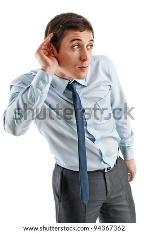 business men in listening pose, isolated on white background - stock photo