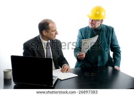 business men in office discussing contract for construction design architecture work - stock photo