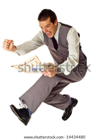business men jumping with newspaper in hands on white - success concept - stock photo