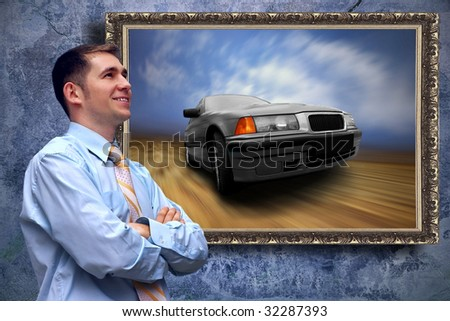 Business men look on picture with car on the grunge background - stock photo