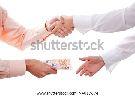 Business men making a transaction in euros and handshaking - isolated over white - stock photo