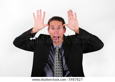Business men mock with his finger - stock photo