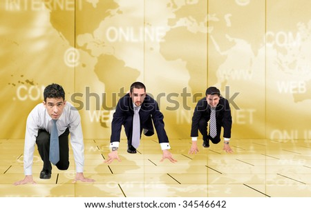 business men on their knees ready to compete - stock photo