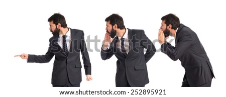 Business men pointing and shouting over isolated white background