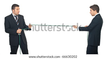 Business men pulling rope in a competition isolated on white background - stock photo
