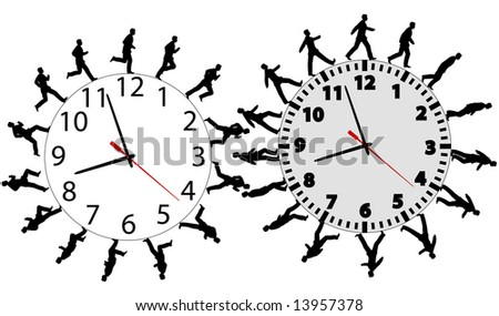 Business men run and walk in a hurry on time. Through the business wok day on time clocks like gears.