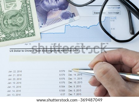Business men's hand writing on paper graph with Chinese yuan and US dollar bank note - stock photo