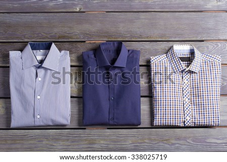 Business men's shirts with various prints. - stock photo