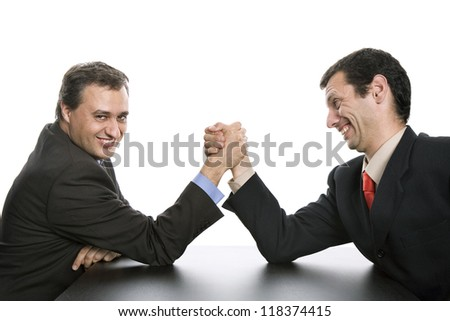 business men shaking hands, isolated on white - stock photo