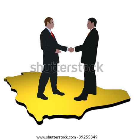 business men shaking hands on map of Saudi Arabia - stock photo