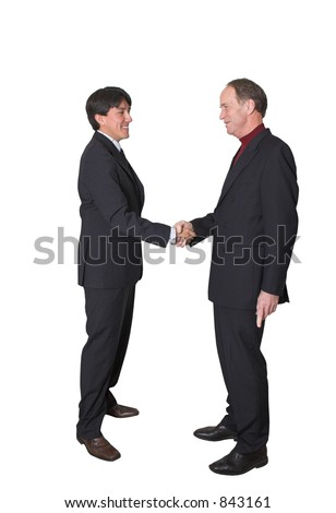 business men shaking hands over a white background
