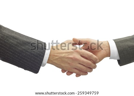 business Men shaking hands with clipping path - stock photo