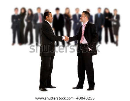 business men shaking hands with their teams behind them - isolated over a white background