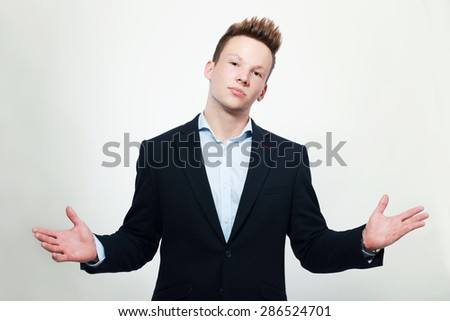 business men shrugging and can't explain - stock photo