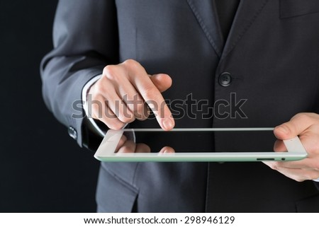 Business, men, tablet.