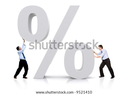 business men with a percentage sign isolated over a white background - stock photo