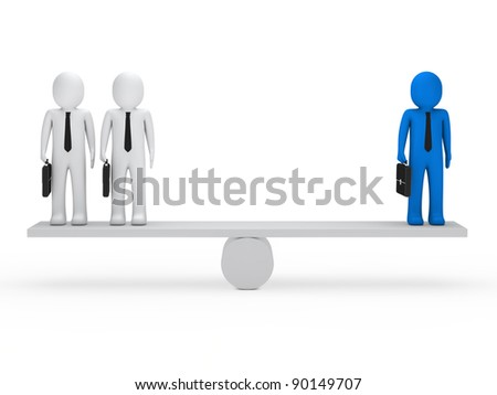 business men with briefcase blue balance seesaw - stock photo