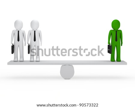 business men with briefcase green balance seesaw - stock photo