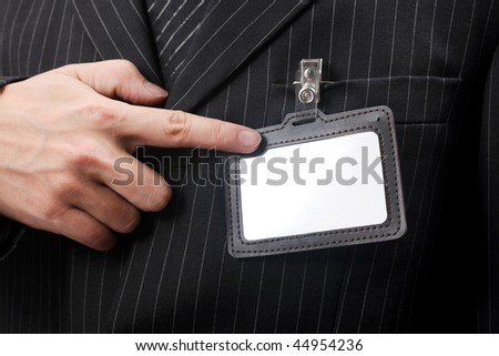 business men with his id card - stock photo