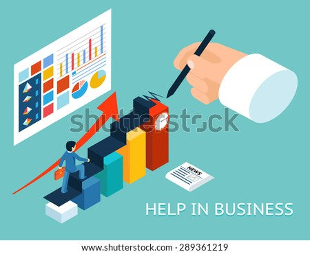Business mentor help partner. Isometric 3d illustration. Partnership and growth, advice graph chart - stock photo