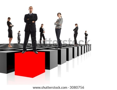 Business Metaphor - the elite business team - very easy to integrate into your design - stock photo