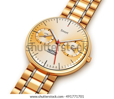 Business mobility and modern mobile wearable device technology concept: 3D illustration of golden luxury digital smart watch or clock with color screen interface and gold bracelet isolated on white