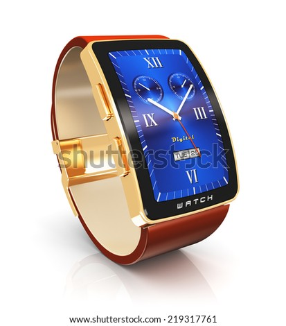 Business mobility and modern mobile wearable device technology concept: golden luxury digital smart watch or clock with color screen interface isolated on white background with reflection effect - stock photo