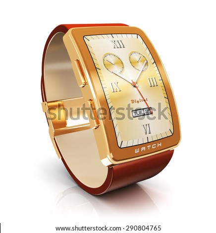 Business mobility and modern mobile wearable device technology concept: golden luxury digital smart watch or clock with color screen interface and red leather strap isolated on white background - stock photo