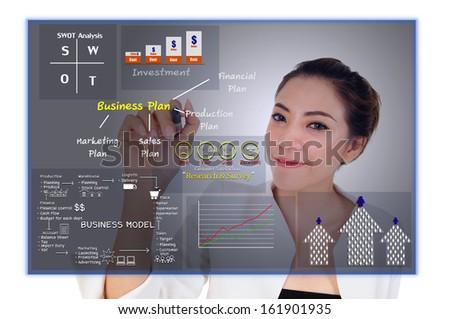 Business model concept to get achievement - stock photo