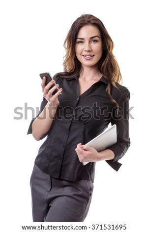 business model holding a mobile phone in one hand and her tablet computer int he other isolated on white. - stock photo
