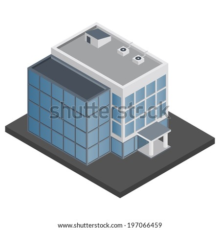 Business modern 3d urban office building isometric isolated  illustration