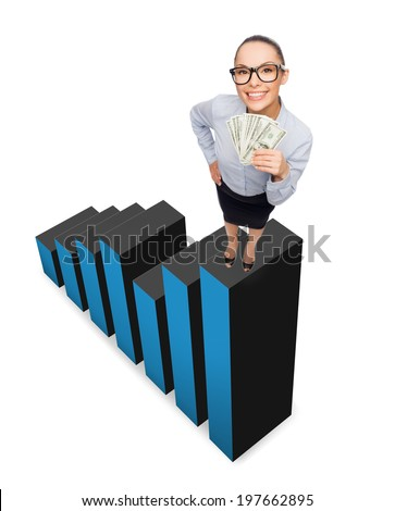 business, money and banking concept - smiling businesswoman in eyeglasses with dollar cash money standing on growing chart - stock photo