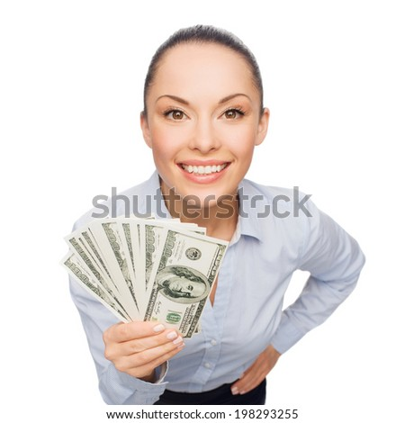 business, money and banking concept - smiling businesswoman with dollar cash money