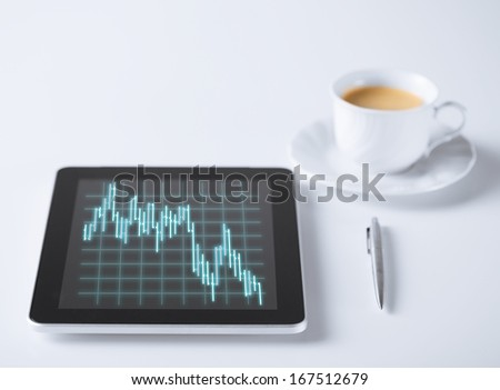 business, money and technology concept - tablet pc with forex chart on it and cup of coffee - stock photo