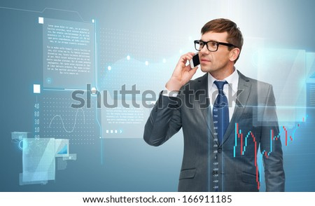business, money, technology and office concept - buisnessman with cell phone and forex chart - stock photo