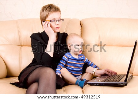 business mother with baby