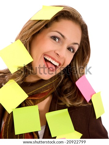 business mulitasking woman isolated over a white background - stock photo