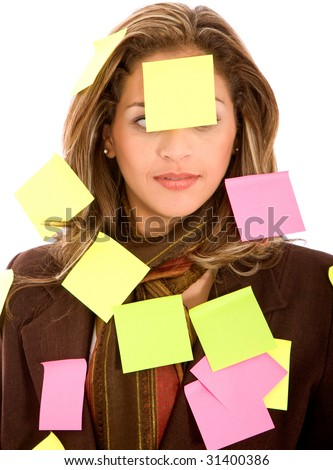 business multitasking woman isolated over a white background