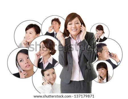 Business network, Asian business people use mobile phone to communicate to each other on white background. - stock photo