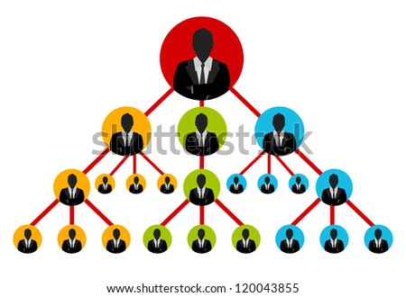 Business Network Concept For MLM Present By Multilevel Businessman Connection Isolated on White Background - stock photo