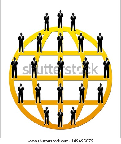 Business Network Concept Present By Multilevel Businessman Connection Around The Yellow World Isolated on White Background