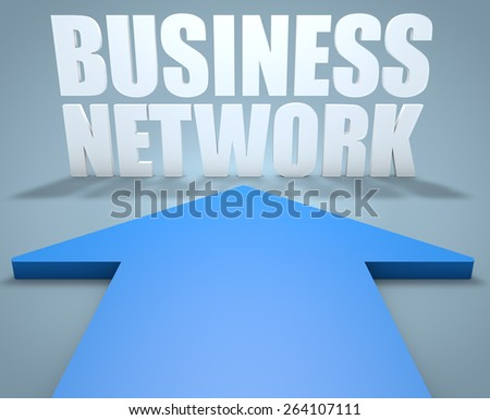 Business Network - 3d render concept of blue arrow pointing to text. - stock photo