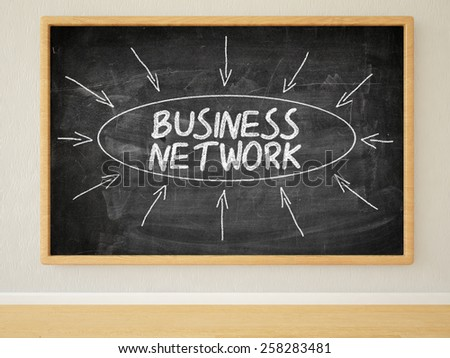 Business Network - 3d render illustration of text on black chalkboard in a room. - stock photo