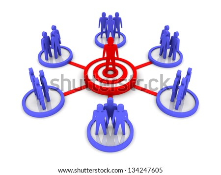 Business Network. Group leader. Concept 3D illustration. - stock photo