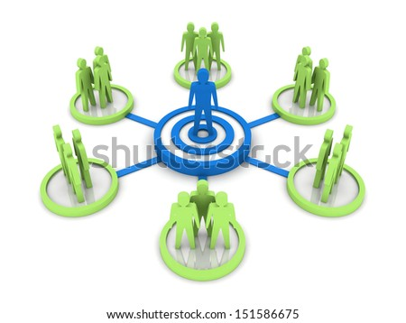 Business Network. Group leader. Concept 3D illustration. - stock photo
