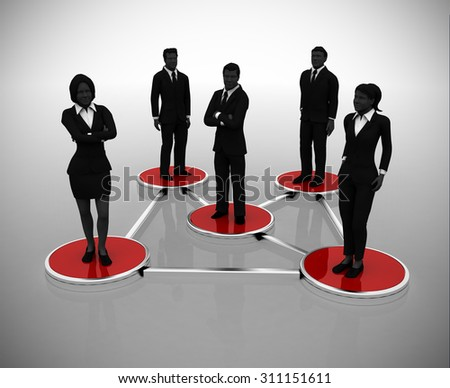 Business network of successful executives. A business network of executives in silhouettes.  - stock photo